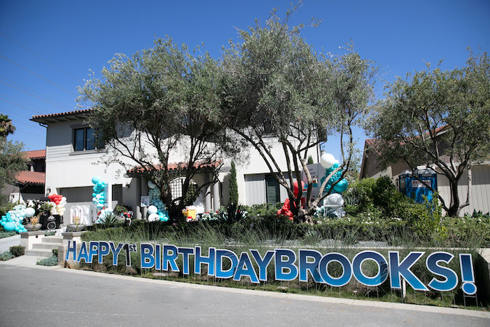 Happy Birthday Signage from a Sound the Alarm Firetruck 1st Birthday on Kara's Party Ideas | KarasPartyIdeas.com (24)