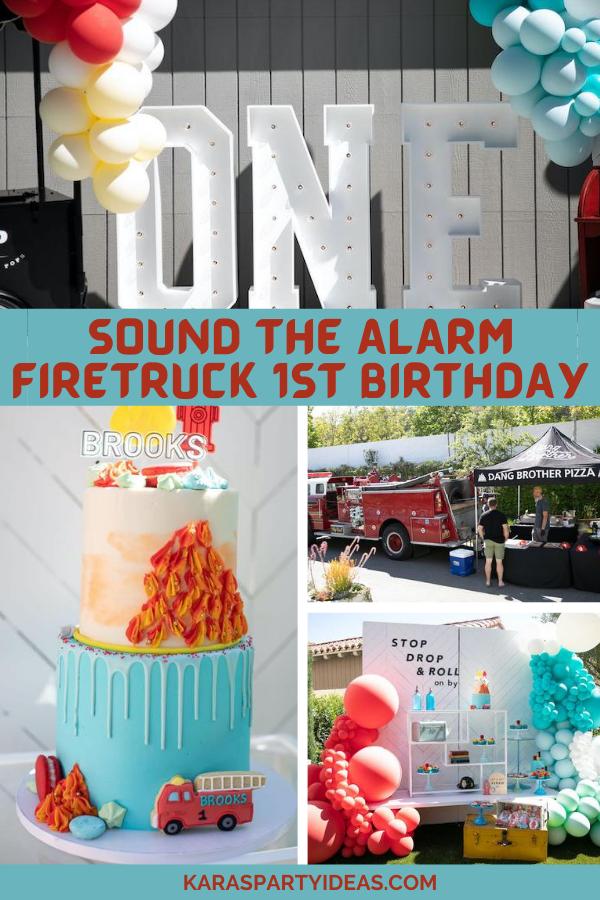 Sound the Alarm Firetruck 1st Birthday via Kara's Party Ideas - KarasPartyIdeas.com