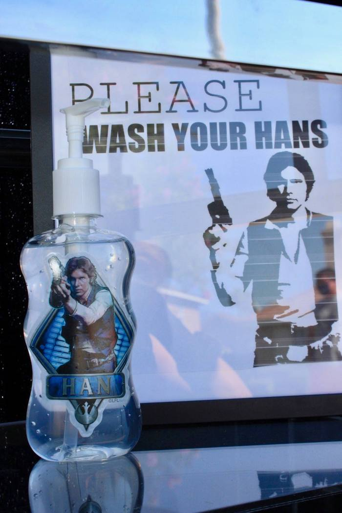 """Han"" Sanitizer from a Star Wars Quarantine Drive-By Birthday Party on Kara's Party Ideas 