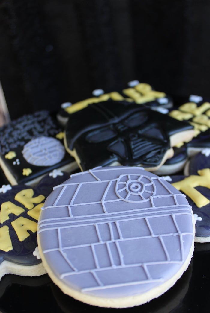 Death Star Cookie from a Star Wars Quarantine Drive-By Birthday Party on Kara's Party Ideas | KarasPartyIdeas.com (12)