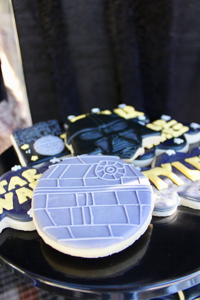 Death Star Cookie from a Star Wars Quarantine Drive-By Birthday Party on Kara's Party Ideas | KarasPartyIdeas.com (22)