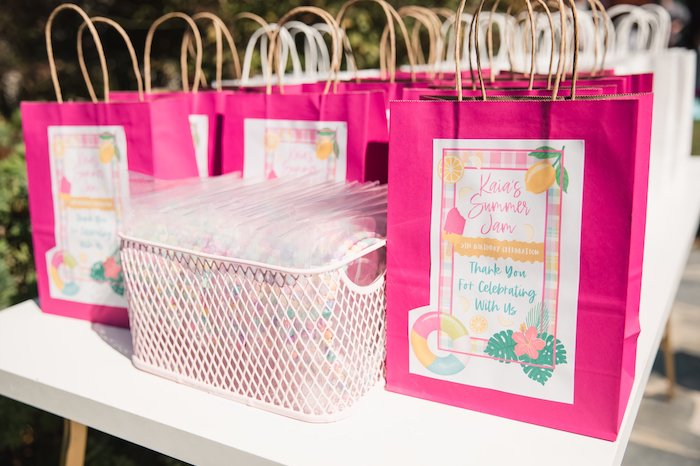 Hot Pink Summer Jam Gift Bags from a Summer Birthday Jam on Kara's Party Ideas | KarasPartyIdeas.com (14)