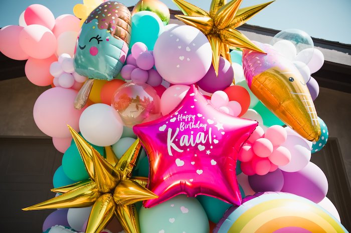 Summer-inspired Balloon Install from a Summer Birthday Jam on Kara's Party Ideas | KarasPartyIdeas.com (13)