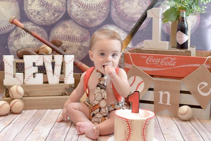 Baseball Smash Cake + First Year Photo Op from a Vintage Baseball + The Sandlot Birthday Party on Kara's Party Ideas | KarasPartyIdeas.com (10)
