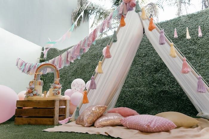 Boho Tent from a Vintage Boho Picnic Party on Kara's Party Ideas   KarasPartyIdeas.com (8)