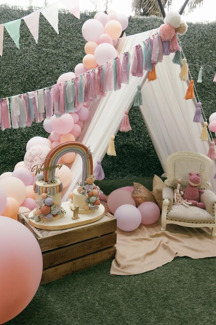 Boho Rainbow Cake & Teepee Tent from a Vintage Boho Picnic Party on Kara's Party Ideas   KarasPartyIdeas.com (6)