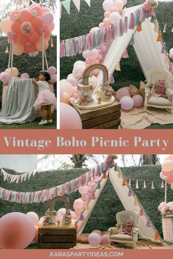 Vintage Boho Picnic Party via Kara's Party Ideas - KarasPartyIdeas.com