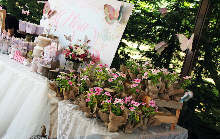 Plant Favors from a Vintage Butterfly Garden Party on Kara's Party Ideas | KarasPartyIdeas.com (7)