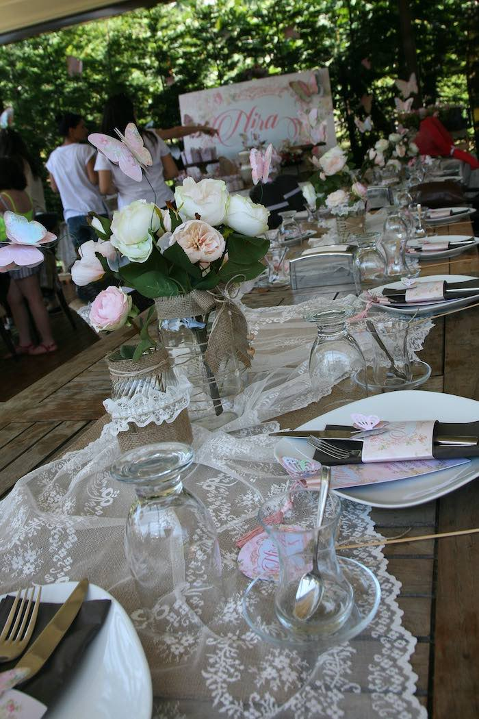 Burlap & Lace Dining Tablescape from a Vintage Butterfly Garden Party on Kara's Party Ideas | KarasPartyIdeas.com (5)