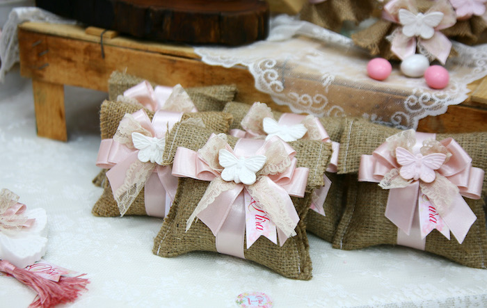 Beautiful Burlap Gift Bags from a Vintage Butterfly Garden Party on Kara's Party Ideas | KarasPartyIdeas.com (4)