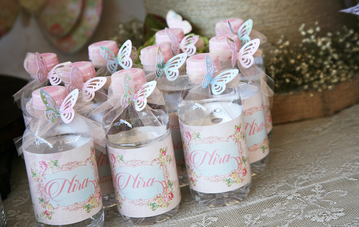 Butterfly-inspired Water Bottles from a Vintage Butterfly Garden Party on Kara's Party Ideas | KarasPartyIdeas.com (12)