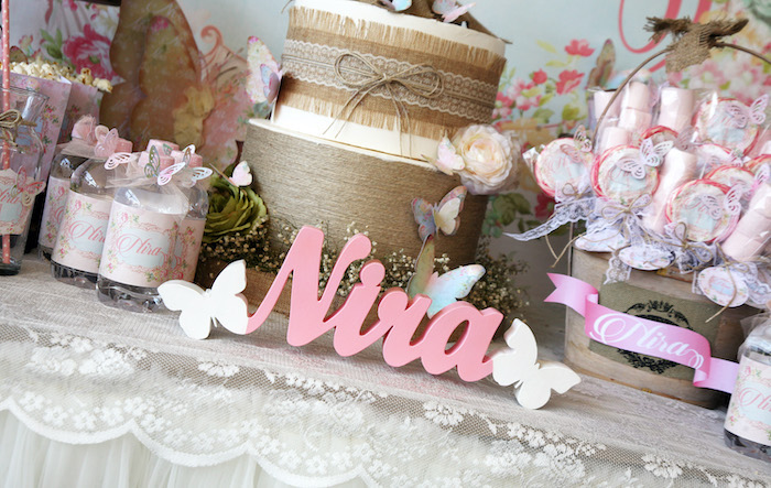Butterfly Name Sign from a Vintage Butterfly Garden Party on Kara's Party Ideas | KarasPartyIdeas.com (11)