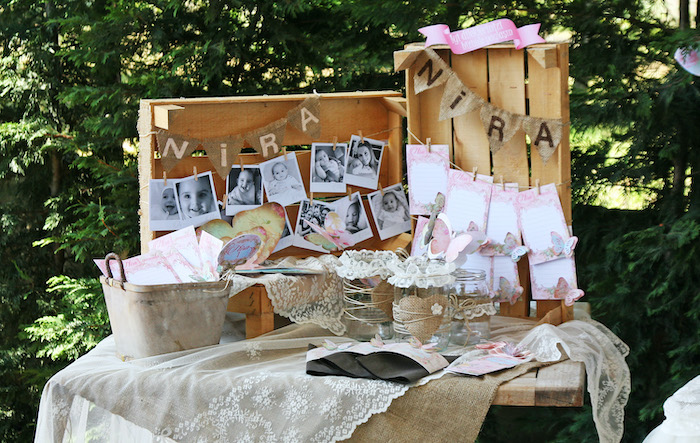 Burlap & Lace Highlight Table from a Vintage Butterfly Garden Party on Kara's Party Ideas | KarasPartyIdeas.com (10)