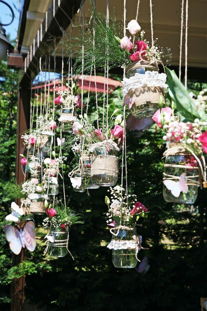 Hanging Mason Jar Blooms from a Vintage Butterfly Garden Party on Kara's Party Ideas | KarasPartyIdeas.com (8)