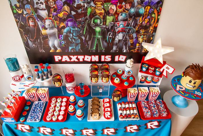 Roblox Themed Dessert Table from a Roblox Birthday Party on Kara's Party Ideas | KarasPartyIdeas.com (10)