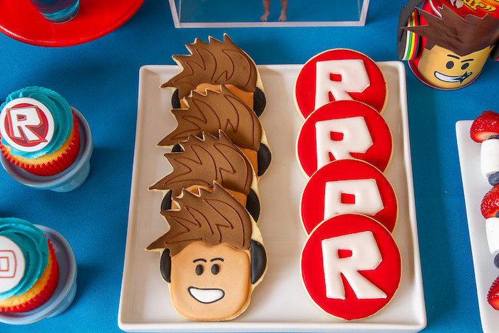 Roblox Cookies from a Roblox Birthday Party on Kara's Party Ideas | KarasPartyIdeas.com (8)