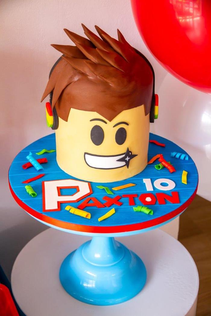 Roblox Cake from a Roblox Birthday Party on Kara's Party Ideas | KarasPartyIdeas.com (18)