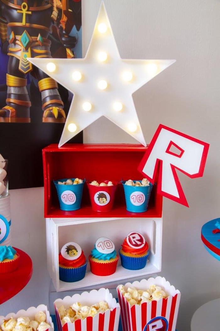 Roblox-inspired Snack Shelf from a Roblox Birthday Party on Kara's Party Ideas | KarasPartyIdeas.com (13)