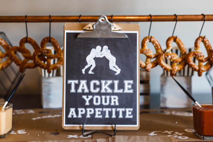 Football-inspired Food Table Signage from a 1st Birthday Football Party on Kara's Party Ideas | KarasPartyIdeas.com (19)