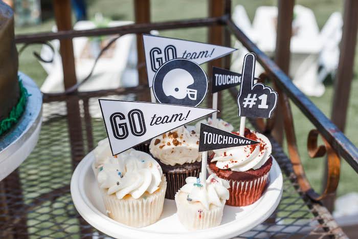Football-inspired Cupcakes from a 1st Birthday Football Party on Kara's Party Ideas | KarasPartyIdeas.com (17)
