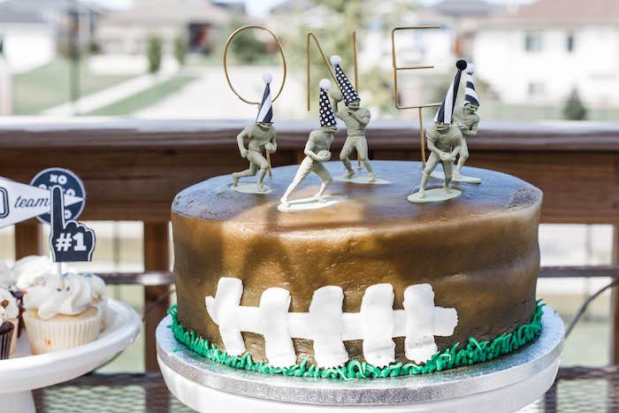 Football-inspired Cake from a 1st Birthday Football Party on Kara's Party Ideas | KarasPartyIdeas.com (16)