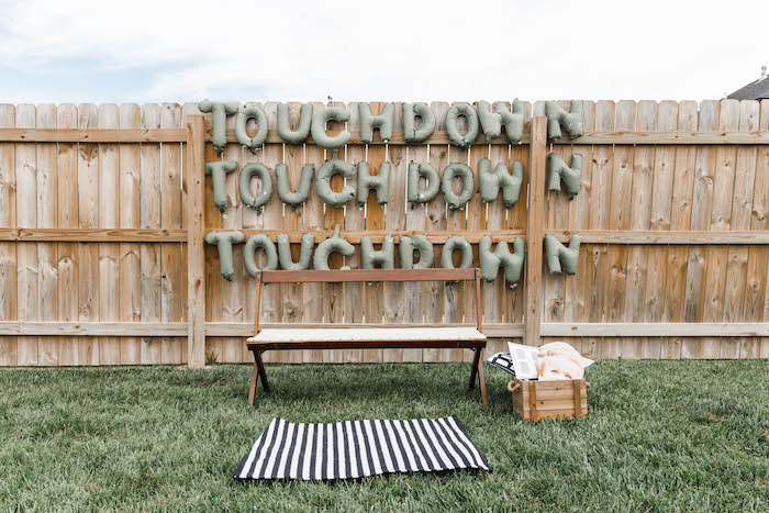 Touchdown Photo Booth from a 1st Birthday Football Party on Kara's Party Ideas | KarasPartyIdeas.com (9)