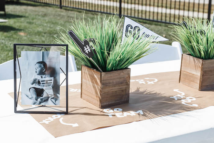 Football-inspired Guest Table from a 1st Birthday Football Party on Kara's Party Ideas | KarasPartyIdeas.com (8)