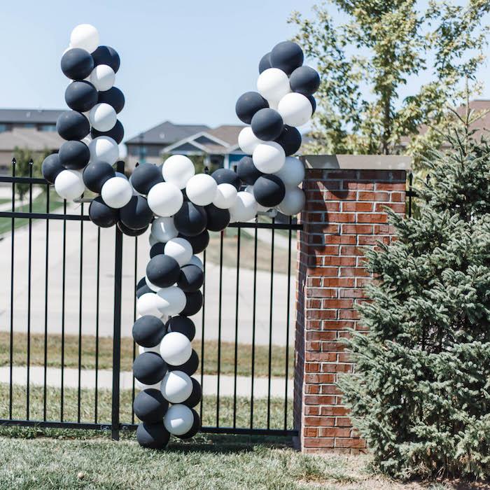 Balloon Goal Post from a 1st Birthday Football Party on Kara's Party Ideas | KarasPartyIdeas.com (6)