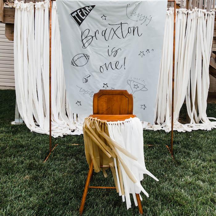 High Chair from a 1st Birthday Football Party on Kara's Party Ideas | KarasPartyIdeas.com (5)