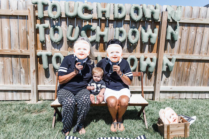 Touchdown Photo Booth from a 1st Birthday Football Party on Kara's Party Ideas | KarasPartyIdeas.com (31)
