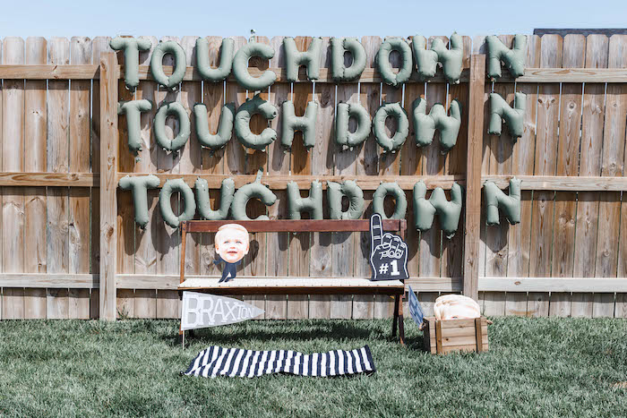 Touchdown Photo Booth from a 1st Birthday Football Party on Kara's Party Ideas | KarasPartyIdeas.com (30)