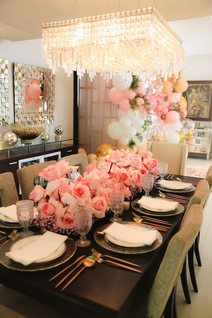 "Pink Floral Guest Tablescape from a ""Pretty in Pink"" Garden Birthday Party on Kara's Party Ideas 