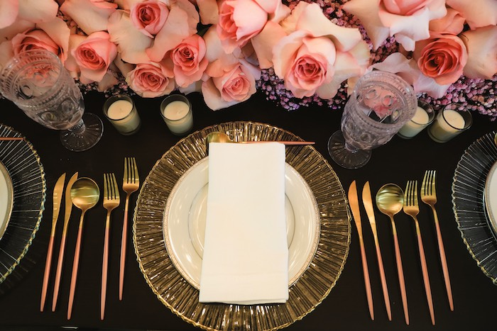 "Elegant Table Setting from a ""Pretty in Pink"" Garden Birthday Party on Kara's Party Ideas 