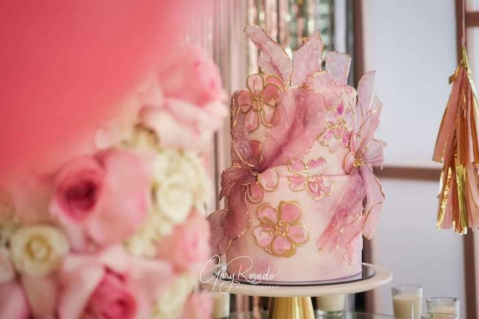 "Pink Floral Cake from a ""Pretty in Pink"" Garden Birthday Party on Kara's Party Ideas 
