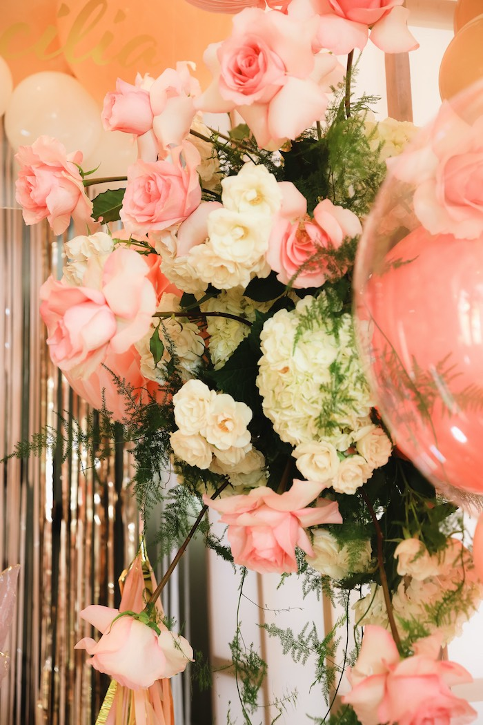 "Stemmed Floral Arrangement from a ""Pretty in Pink"" Garden Birthday Party on Kara's Party Ideas 