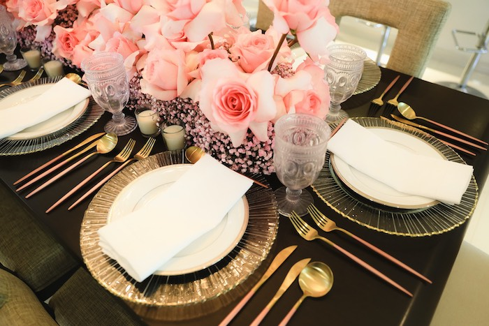 "Gold + White Table Setting from a ""Pretty in Pink"" Garden Birthday Party on Kara's Party Ideas 