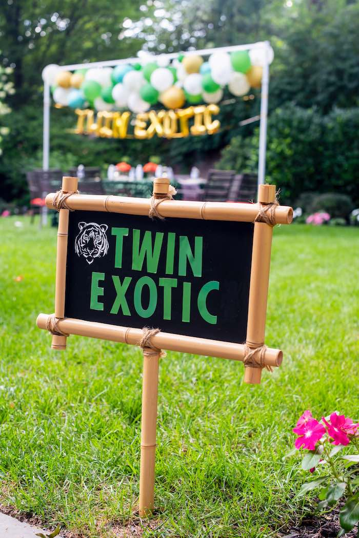"Bamboo & Chalkboard Sign from a ""Twin Exotic"" Tiger King Inspired Birthday Party on Kara's Party Ideas 