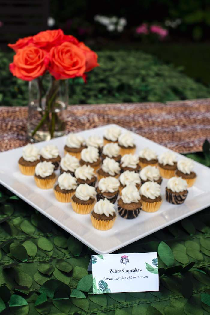 "Zebra Cupcakes from a ""Twin Exotic"" Tiger King Inspired Birthday Party on Kara's Party Ideas 