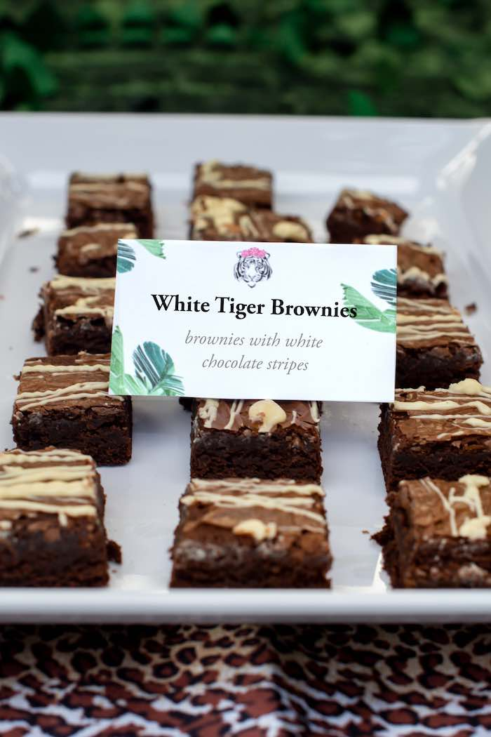 "White Tiger Brownies from a ""Twin Exotic"" Tiger King Inspired Birthday Party on Kara's Party Ideas 