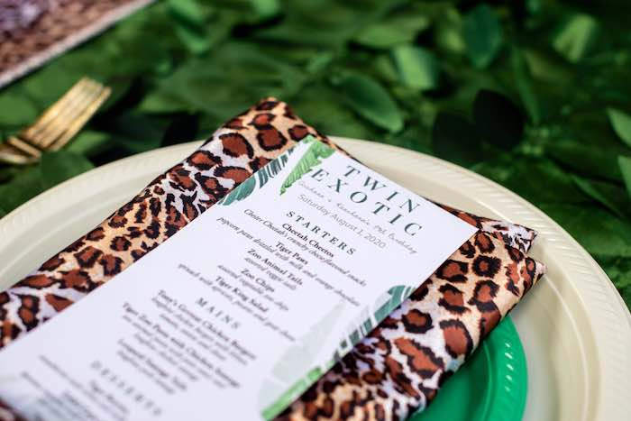 "Animal Print Napkin + Menu from a ""Twin Exotic"" Tiger King Inspired Birthday Party on Kara's Party Ideas 