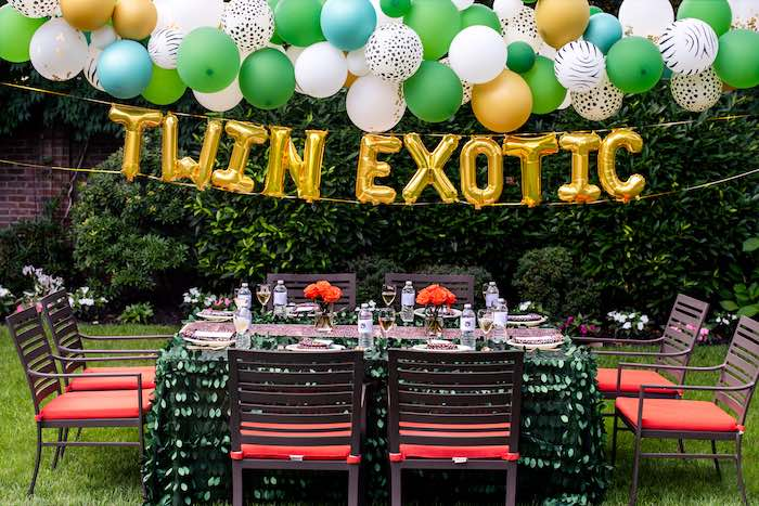 "Balloon Install Guest Table from a ""Twin Exotic"" Tiger King Inspired Birthday Party on Kara's Party Ideas 