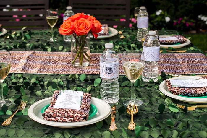 "Table Setting from a ""Twin Exotic"" Tiger King Inspired Birthday Party on Kara's Party Ideas 