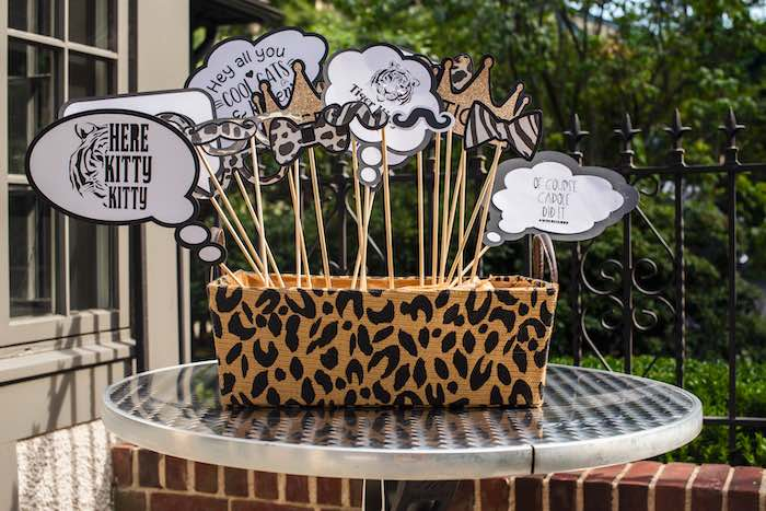 "Tiger King Photo Prop Sticks from a ""Twin Exotic"" Tiger King Inspired Birthday Party on Kara's Party Ideas 