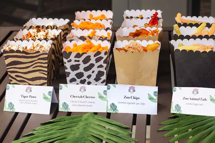 "Exotic Snack Boxes from a ""Twin Exotic"" Tiger King Inspired Birthday Party on Kara's Party Ideas 