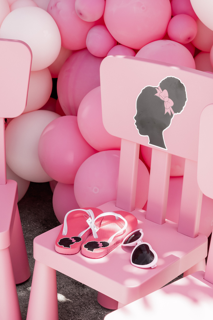Barbie Chairs + Accessories from an Afro Barbie Dream Pool Party on Kara's Party Ideas | KarasPartyIdeas.com (23)
