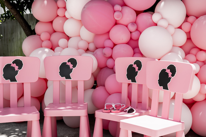 Barbie Chairs from an Afro Barbie Dream Pool Party on Kara's Party Ideas | KarasPartyIdeas.com (22)
