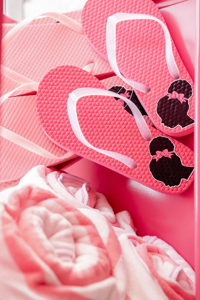 Barbie Flip Flops from an Afro Barbie Dream Pool Party on Kara's Party Ideas | KarasPartyIdeas.com (21)