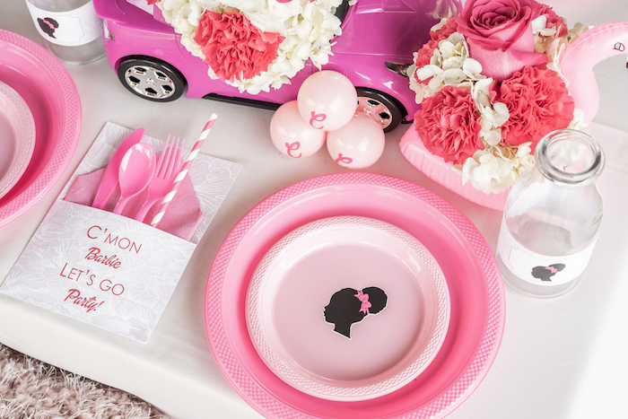 Barbie Themed Table Setting from an Afro Barbie Dream Pool Party on Kara's Party Ideas | KarasPartyIdeas.com (20)