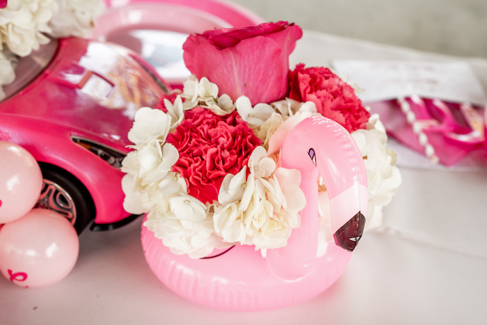 Floral Flamingo Table Centerpiece from an Afro Barbie Dream Pool Party on Kara's Party Ideas | KarasPartyIdeas.com (19)