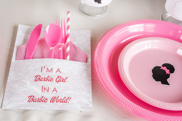 Barbie Girl Flatware Pack from an Afro Barbie Dream Pool Party on Kara's Party Ideas | KarasPartyIdeas.com (18)